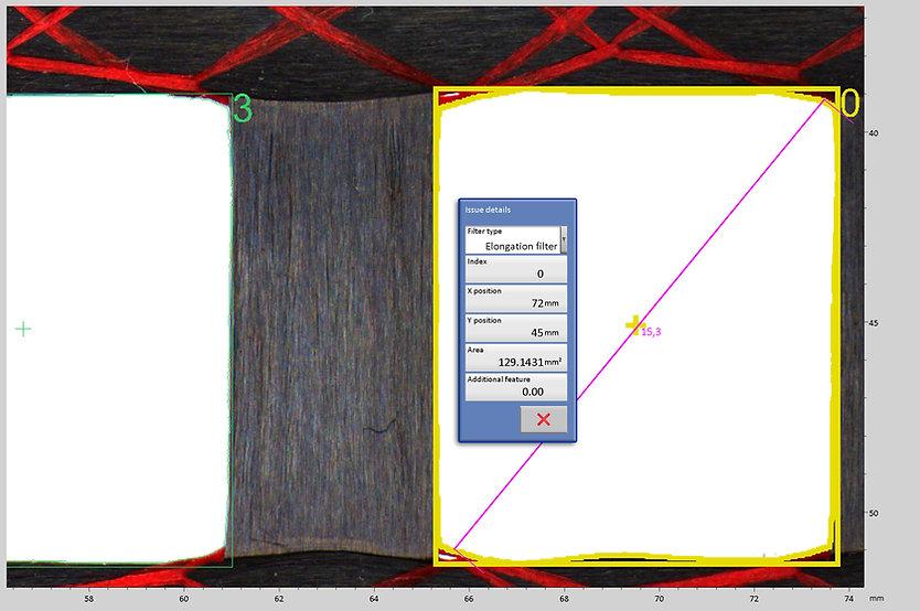 Bewehrungsgitter aus Carbonfaser mit durch Bilderkennung erzeugten farbigen Konturen zur Kennzeichnung verschiedener Größenklassen. Anwendung Digitales Mikroskop von Fa. Robomat
