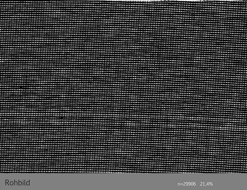 Rohbild Prüfung der Geleichmäßigkeit der Maschenweite von Leinwand. Anwendung Roboskop