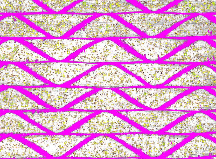 Zoom auf Glasfasergelege mit Bindertropfen, mit Bilderkennung bewertet