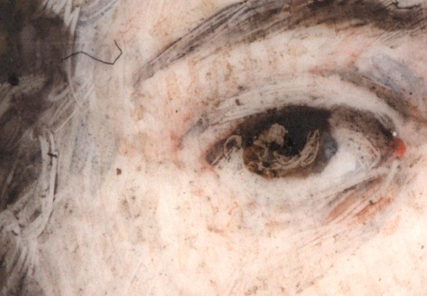 Vergrößerte Darstellung einer Miniaturmalerei von 1840. Beeindruckend ist, dass die 1,6mm große Pupille der dargestellten Person detailliert ausgearbeitet ist. Bild mit dem Flächen Mikroskop Roboskop erstellt. Hersteller Fa. Robomat