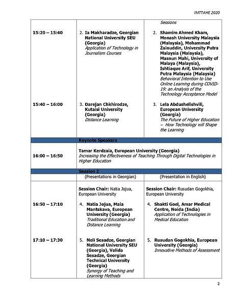 IMTTAHE 2020 - Conference Programme, Dec