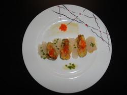 Huitres panées aux perles du japon