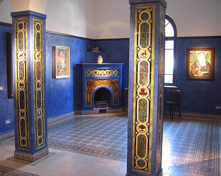 A blue room inside the Bialik House
