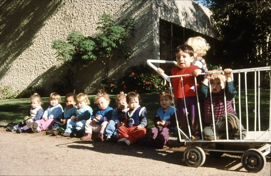 Toddlers in the courtyard of Gan Shmuel