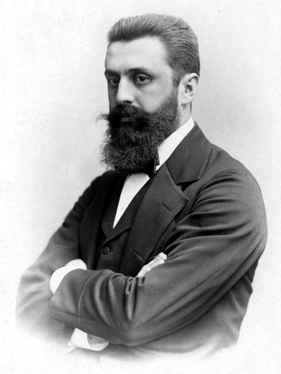 Israel's founding father, Theodor Herzl standing with his arms crossed