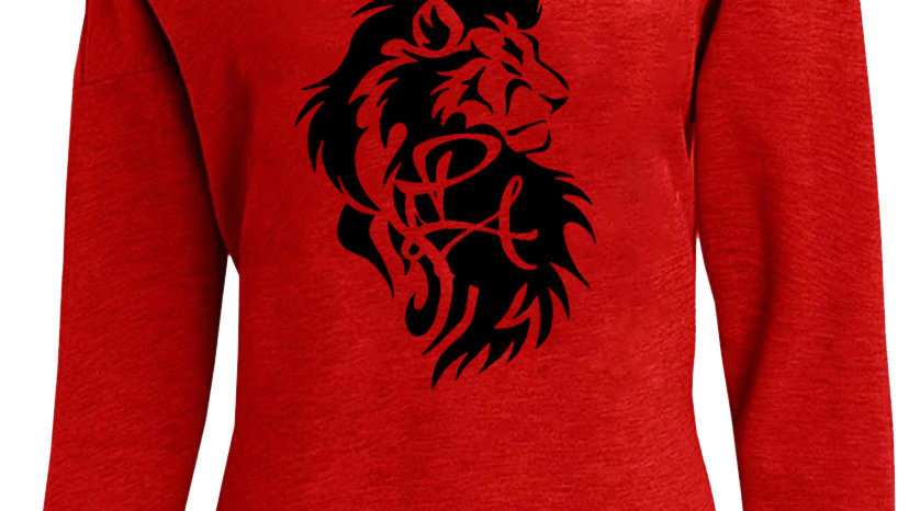 Classic Lion Head Logo Off Shoulder Sweatshirt