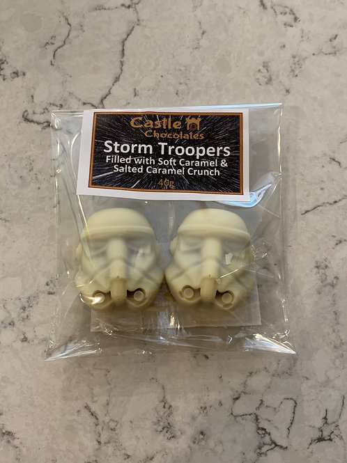 Salted Caramel Crunch Filled Storm Trooper Heads