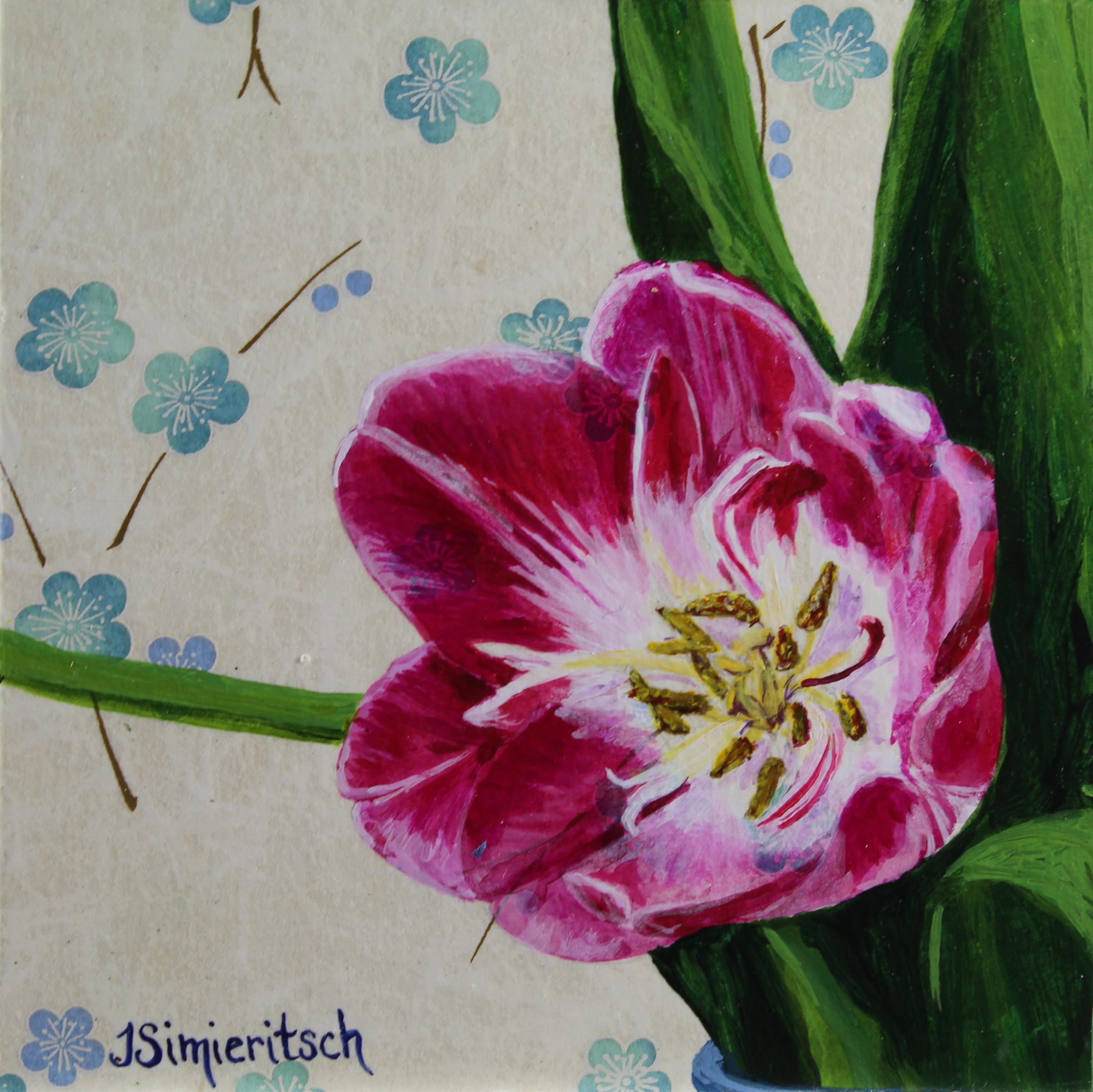Tulip on Light Blue Floral