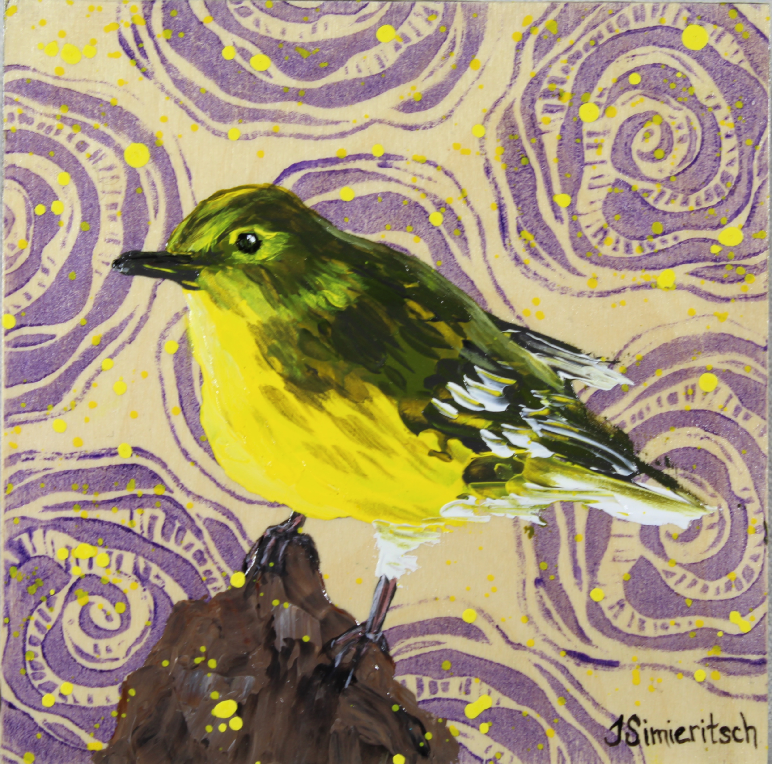Pine Warbler on Purple