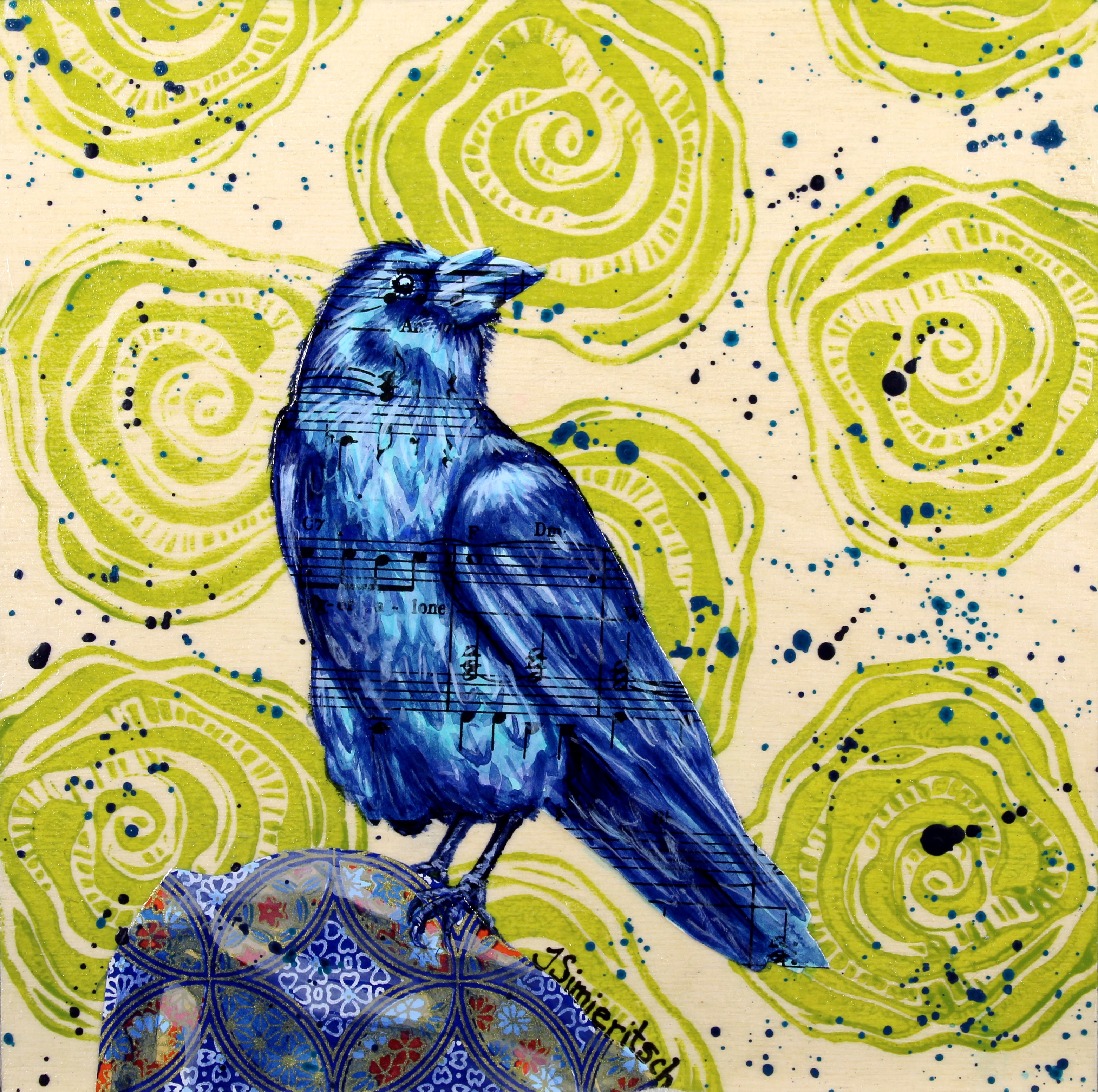 Blue Raven on Green Roses
