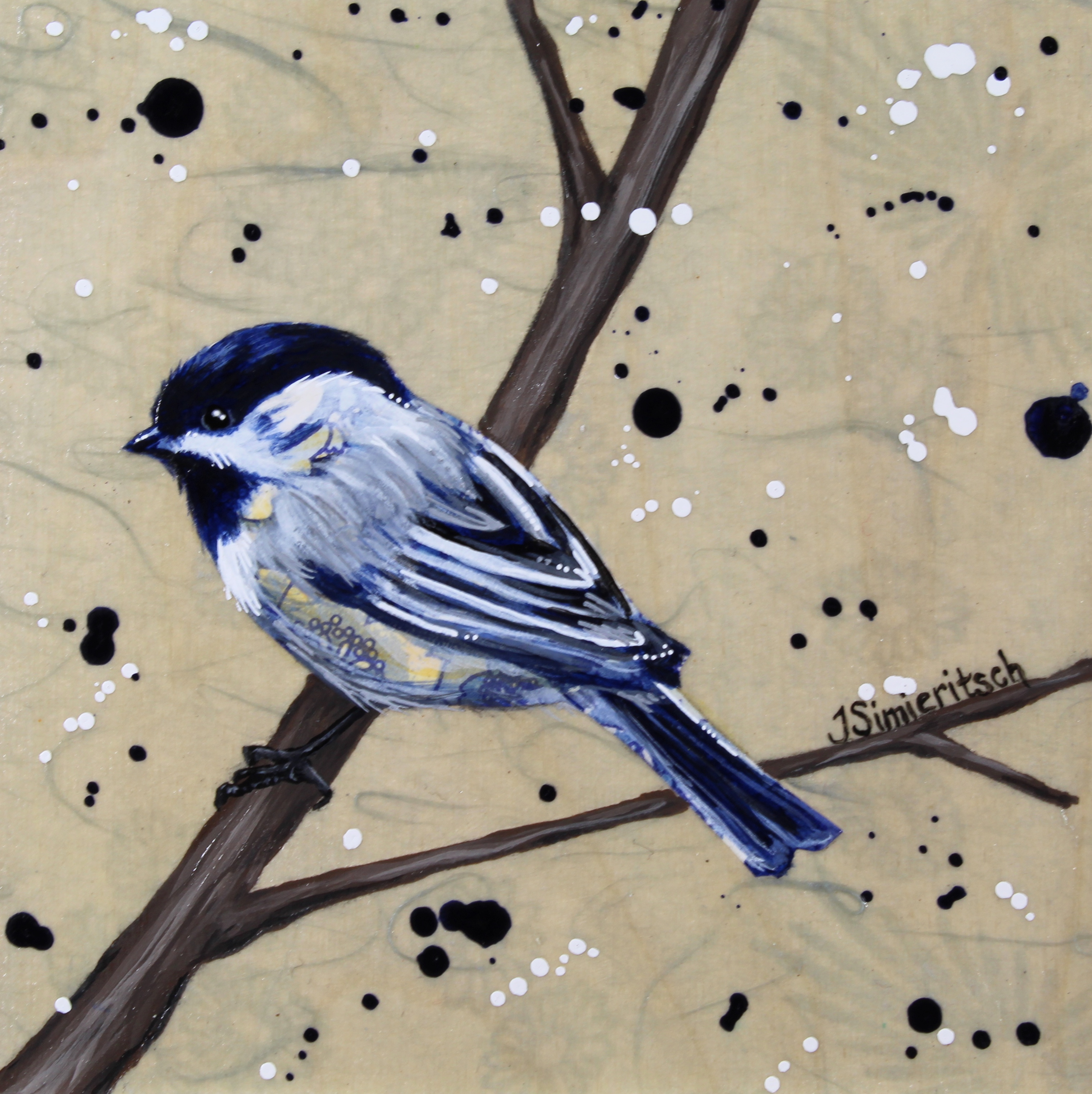Blue Floral Chickadee