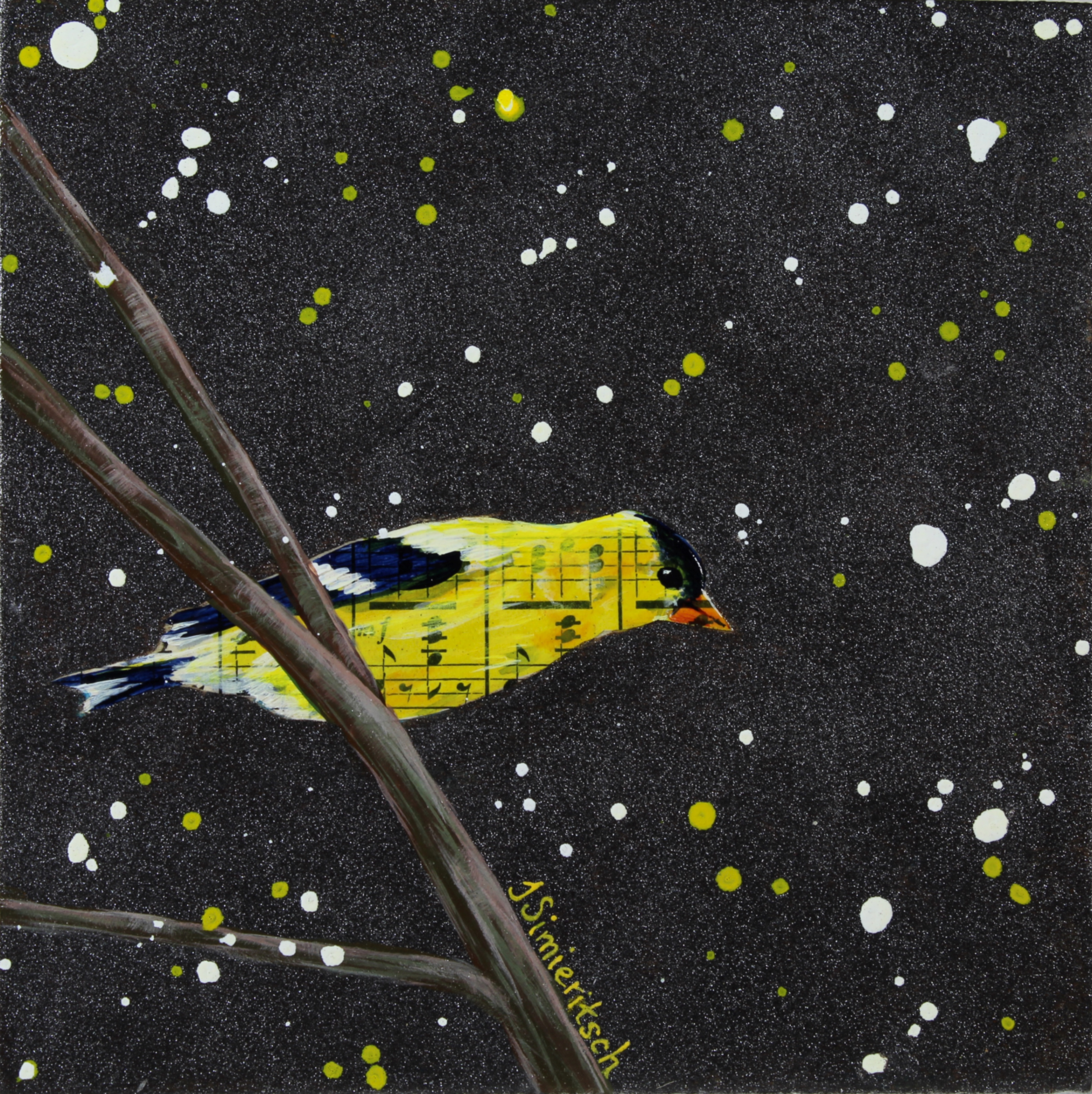 Curious Goldfinch on a Starry Night