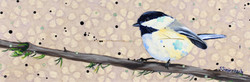 Chickadee in Blue Floral