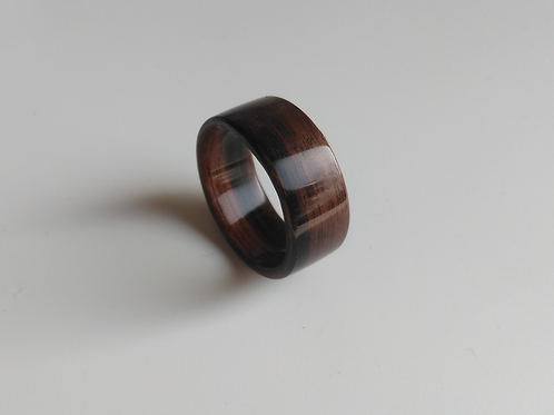 Ebony Macassar Bentwood Ring