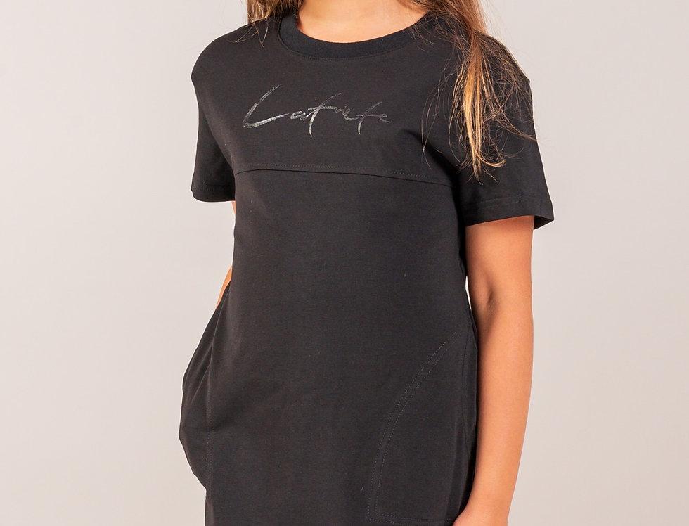T - krekla kleita / melna / bērnu