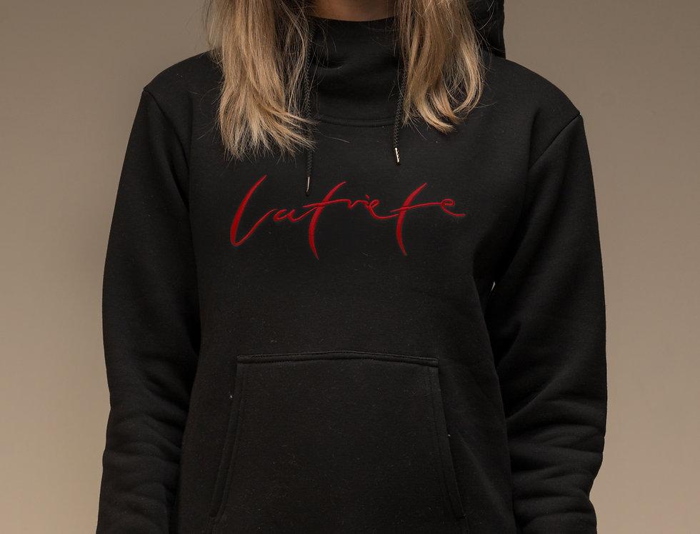 Latviete - džemperis ar kapuci / krāsa -MELNA
