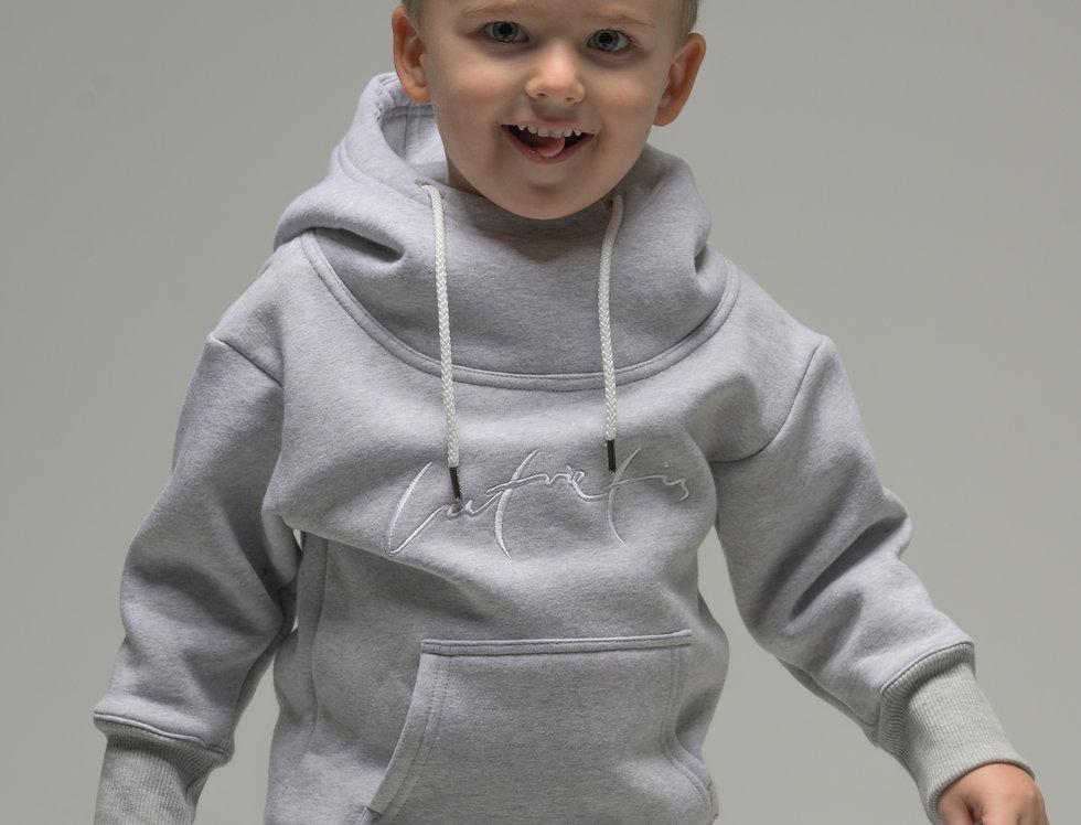Latvietis bērnu džemperis ar kapuci - krāsa PELĒKS