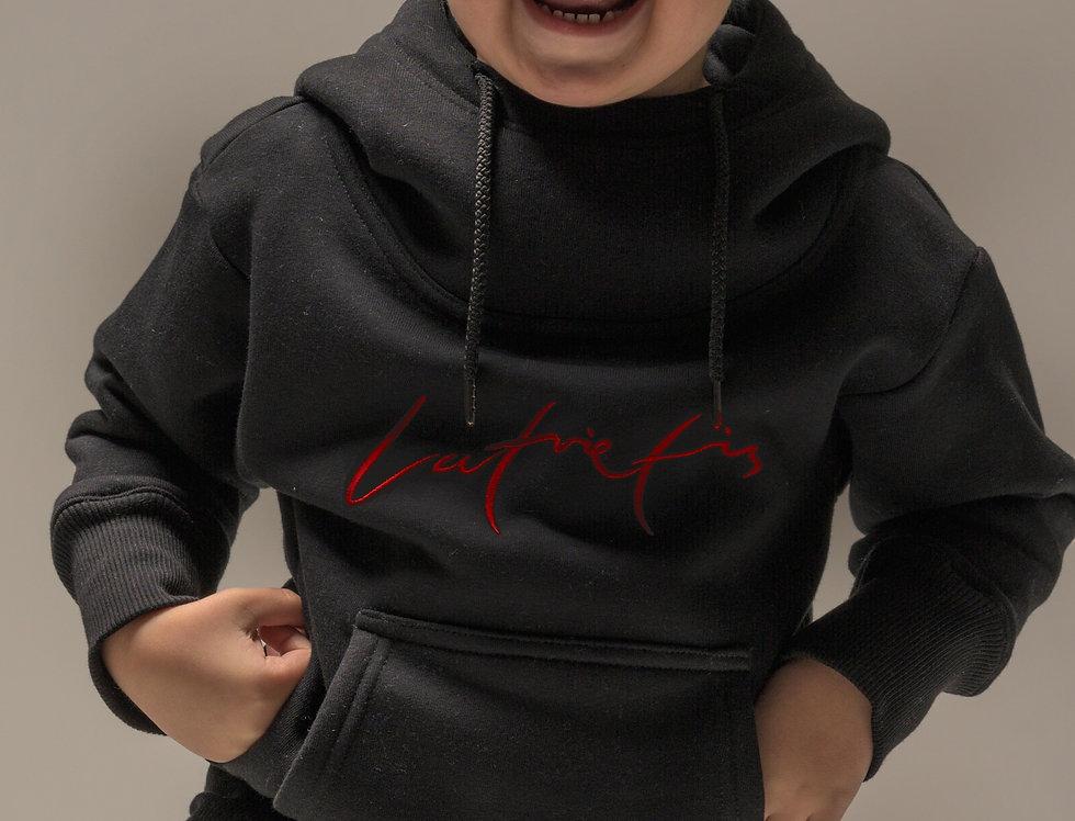 Latvietis bērnu džemperis ar kapuci - krāsa MELNS