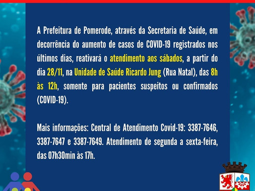 Unidade de Saúde esta atendendo suspeitos e casos COVID-19 aos sábados