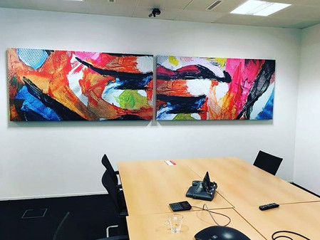 Art in the office! Oracle installed 20 sound panels full of art!