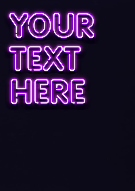 Neon Purple - Rounded Font - PRINTED ARTWORK A2 SIZE