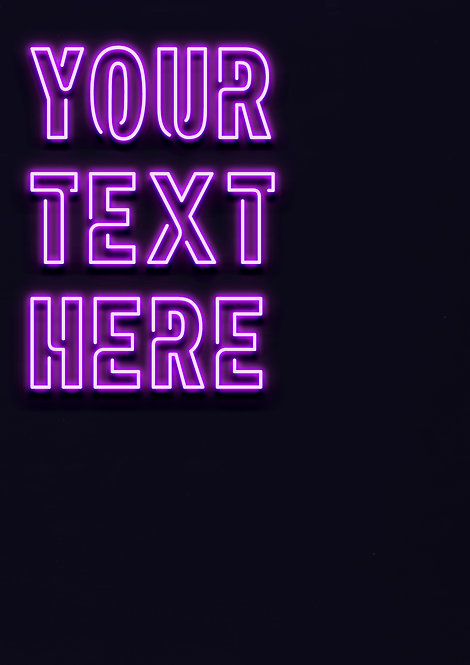Neon Purple - Connected Font - PRINTED ARTWORK A2 SIZE