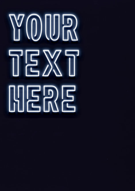 Neon White - Connected Font - PRINTED ARTWORK A2 SIZE