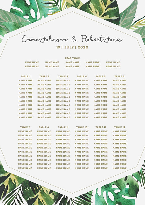 TABLE PLAN - Lush (From £80)