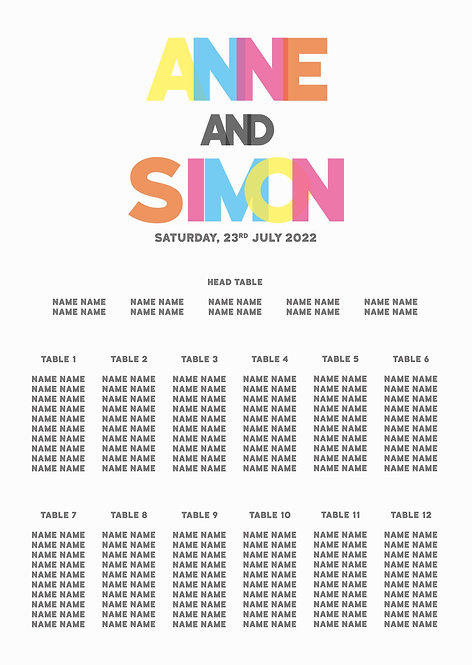 TABLE PLAN - Glow (From £80)