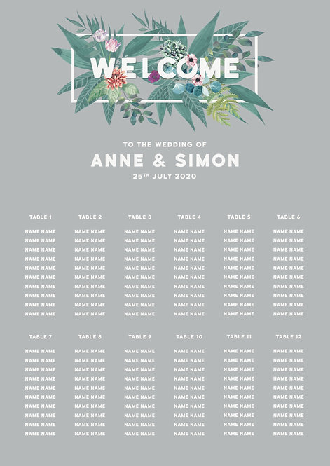 TABLE PLAN - Tropical (From £80)