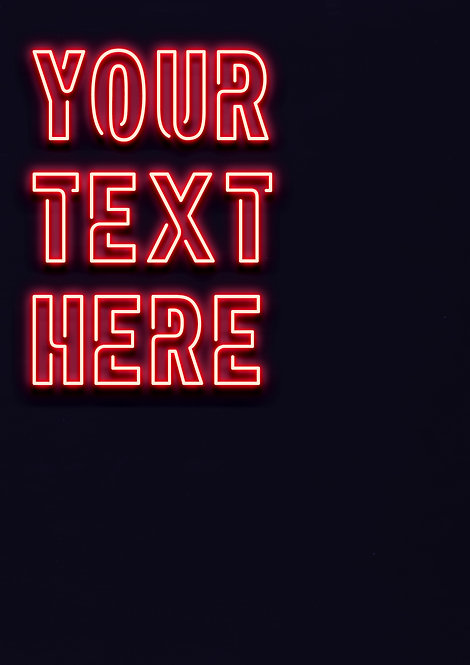 Neon Red - Connected Font - PRINTED ARTWORK A2 SIZE