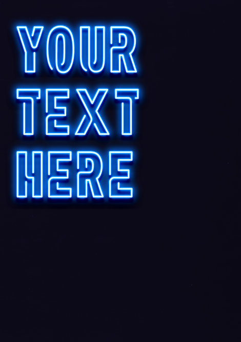 Neon Blue - Connected Font - DIGITAL FILE