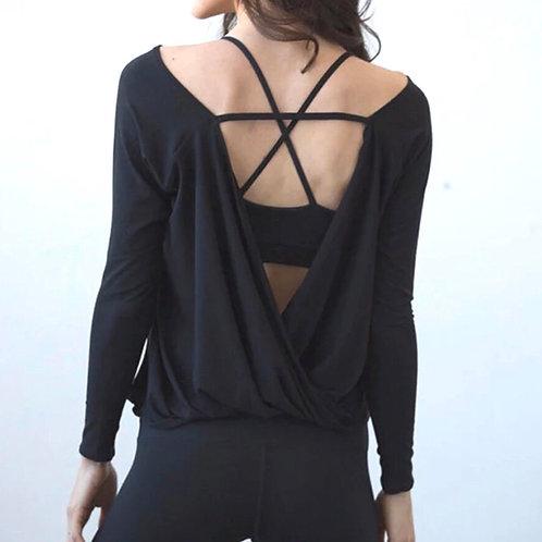 バック オープンロングTシャツ(ブラック)