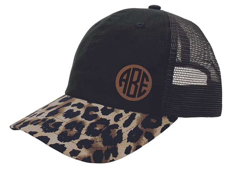 Leopard Hat with Leather Monogram