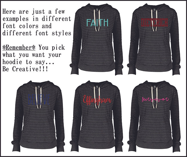 *Personalized*Charcoal & Black Striped Hoodie