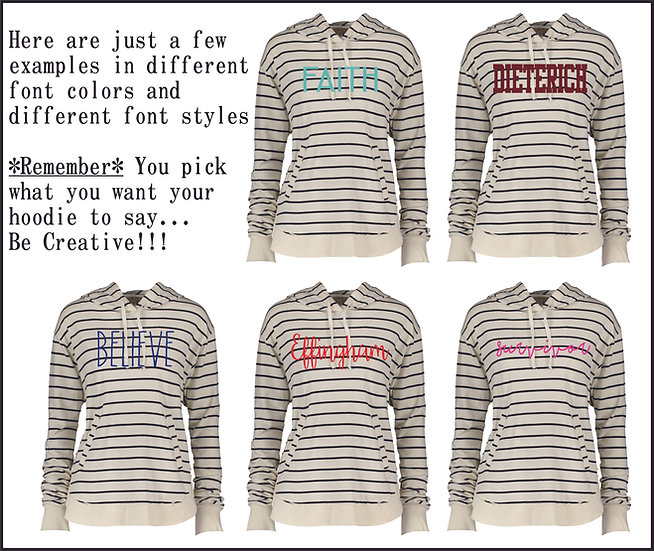 *Personalized*Natural & Black Striped Hoodie