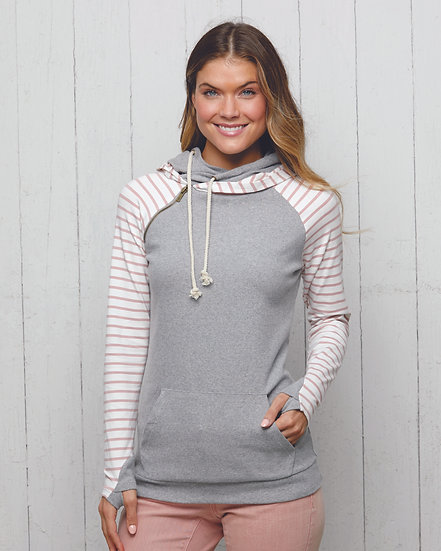 Ladies Stripe Double Hooded Pullover