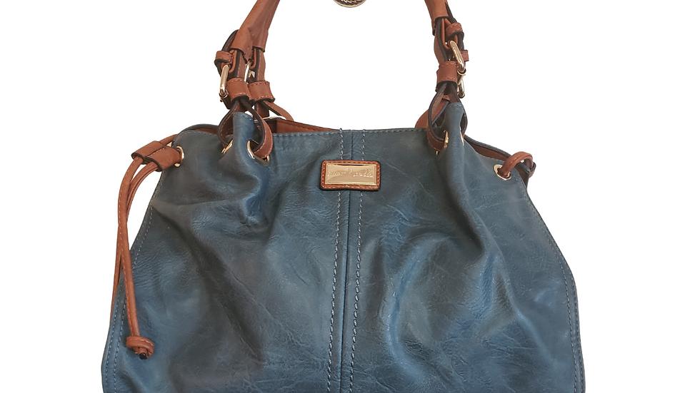 Simply Noelle Blue & Beige Bag with Beige Handle &  Gold Trim