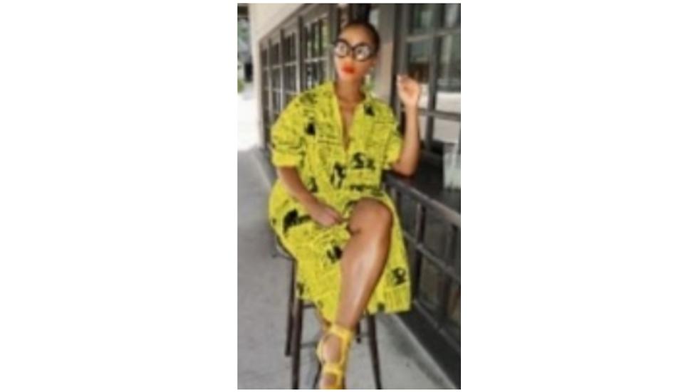 L Yellow Newspaper Dress