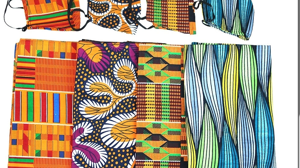 African Print Scarf & Mask Set