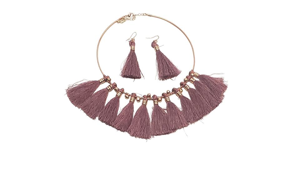 Lavender Choker Tassel Earring & Necklace Set