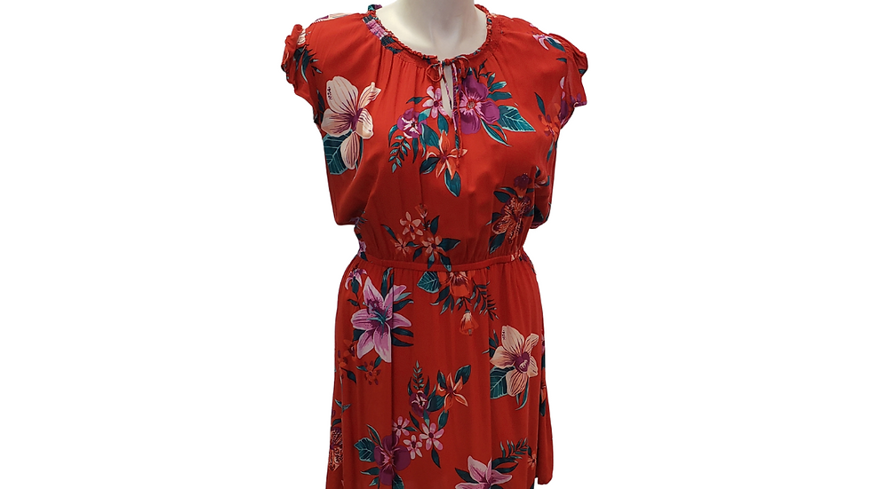 XXL Old Navy Red Floral Print Dress