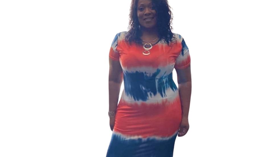 Orange , Blue & White Tie Dye Maxi Dress