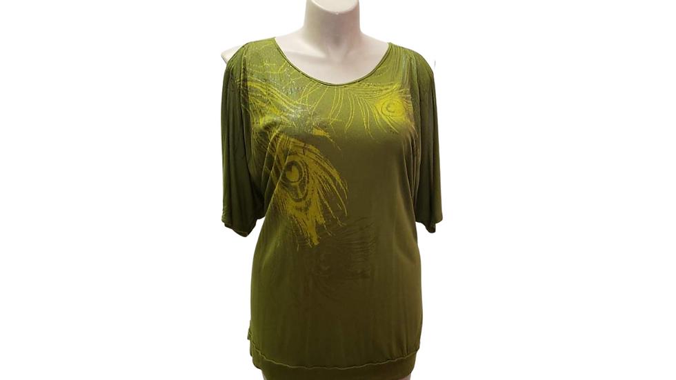 PRE-LOVED 1X Desiree Green Print Top