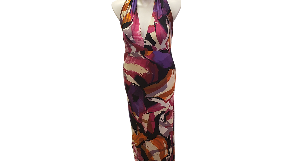 Colorful Halter Dress with Long Back Bowtie