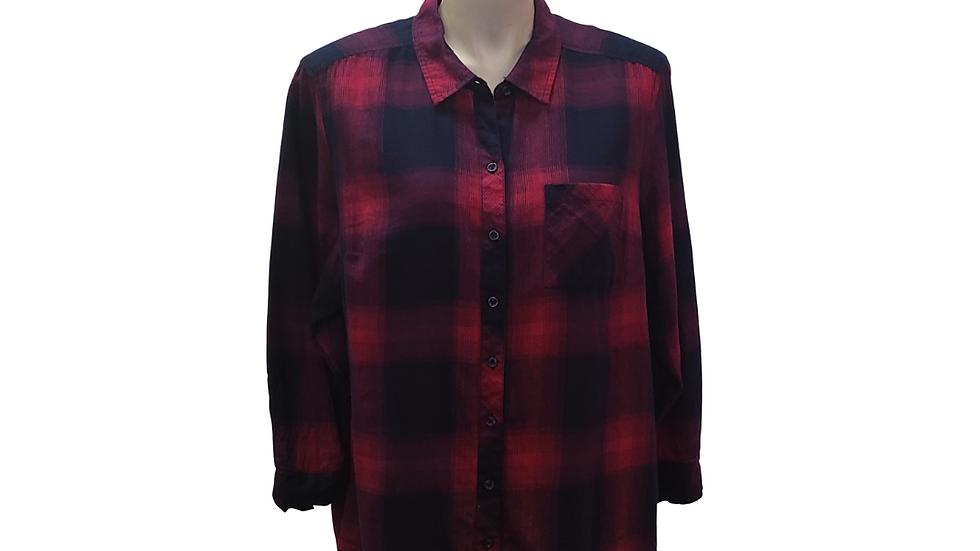 2x 18/20 Pink & Navy Blue Plaid Shirt
