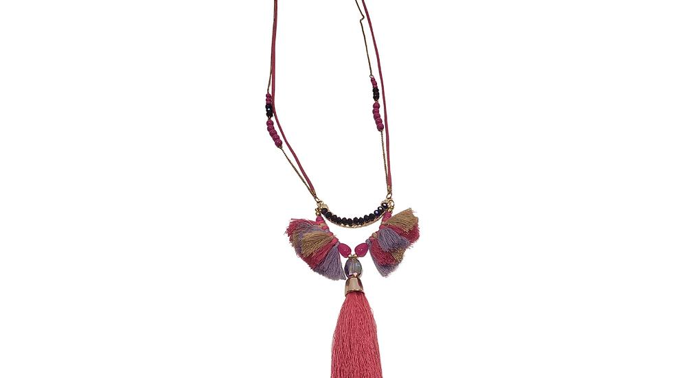Pink , Lavender & Tan Tassel Necklace
