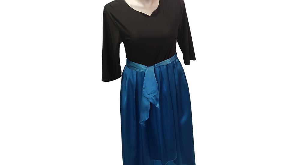1X Color Block Black & Turquoise Dress