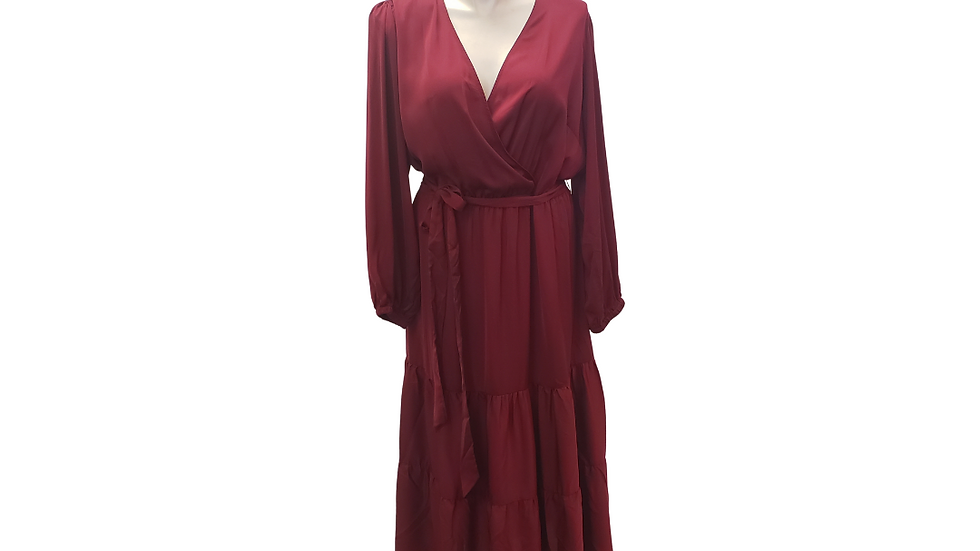 3x Boutique Pleated Burgundy Maxi Dress