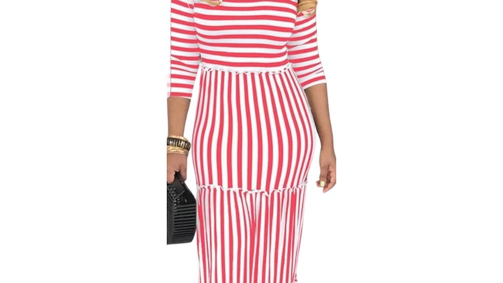 Red & White Stipe Maxi Dress